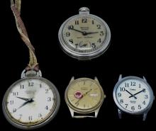 Vintage Lot of 2 Westclox Wind Up Pocket Watches & 2 Wristwatches