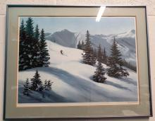 """VINTAGE MAYNARD REECEE SIGNED AND NUMBERED LITHOGRAPH 318/950 """"MOUNTAIN SNOW"""" 1980 - BLUE METALLIC FRAME WITH MATTE"""