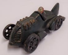 Vintage Hubley Cast Iron Racecar with Driver - Stamped Letter M and number 1 on tail end of car- Measures 6