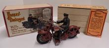 Cast Iron Reproduction of 1928 Harley Davidson Pull toy Motorcycle  - Includes Collectors Wooden Box - Measures 8 1/2