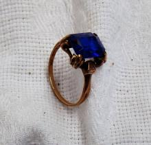 Vintage 10K Gold Womens Sapphire Stone Setting Ring - Stone Measures 3/8