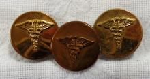 Vintage Lot of 3 US Military Medical Corps Service Pins from WWII