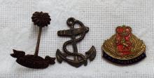 Vintage Lot of 3 Historic Pins - R.W.A.F.F. Pin, R.M.S. Mauretania Souvenir, and US Navy Anchor Pin Approx. 1