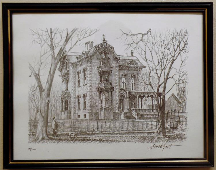 Original Line Drawing Of Fred Harvey Residance By James Burkhart
