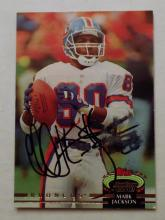 Mark Jackson Autographed Football Card in Denver Broncos Uniform - 1992 Topps Stadium Club Football Card #455