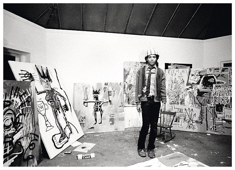 Jean Michel Basquiat in his studio, New York 1982