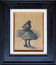 Edgar Degas mixed media on paper signed painting.