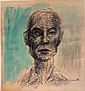 Alberto GIACOMETTI mixed media on paper signed painting, Alberto Giacometti, $900
