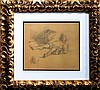 Honoré DAUMIER pencil on paper signed painting, Honore Daumier, $900