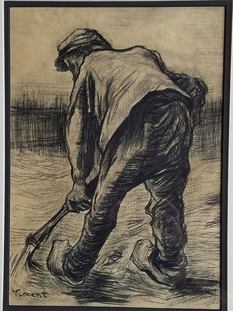 Vincent Van Gogh Charcoal On Paper Signed Painting