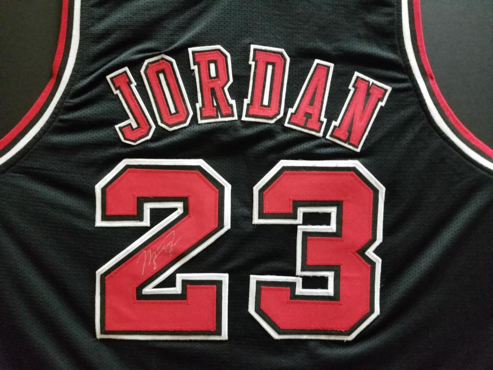 59f19b7058c Michael Jordan Autographed 97-98 Chicago Bulls Alternate Black Jersey