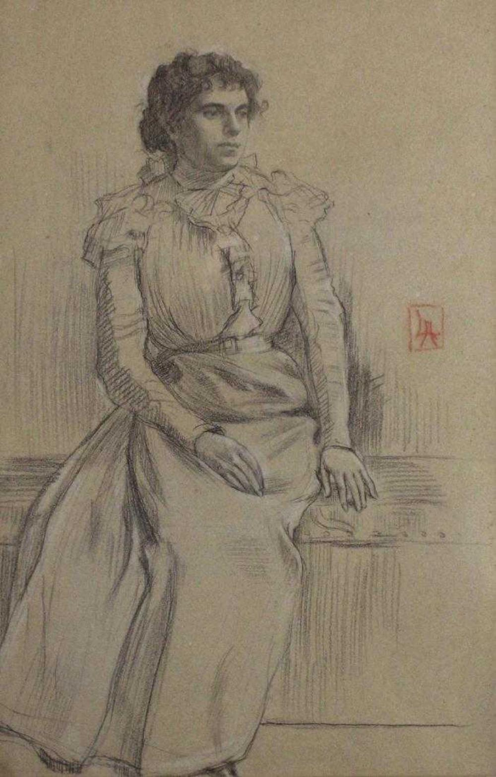 Lucien Abrams Charcoal Drawing Victorian Woman Portrait