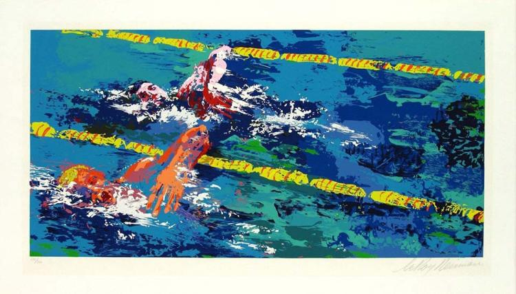 "Fine Art Postcard No Longer in Print!!! /""Olympic Swimmers/"" by LeRoy Neiman"