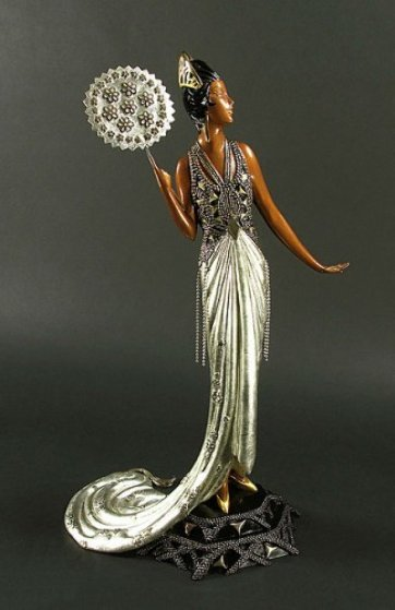 signed erte fedora art deco lady w fan bronze sculpture 12k