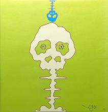 Takashi MURAKAMI Time Bokan neongreen Offset Lithograph signed and numbered