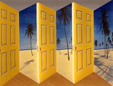 PATRICK HUGHES Palm Door 1998 3 D Hand painted multiple with lithography 1998, lithograph, signed/num