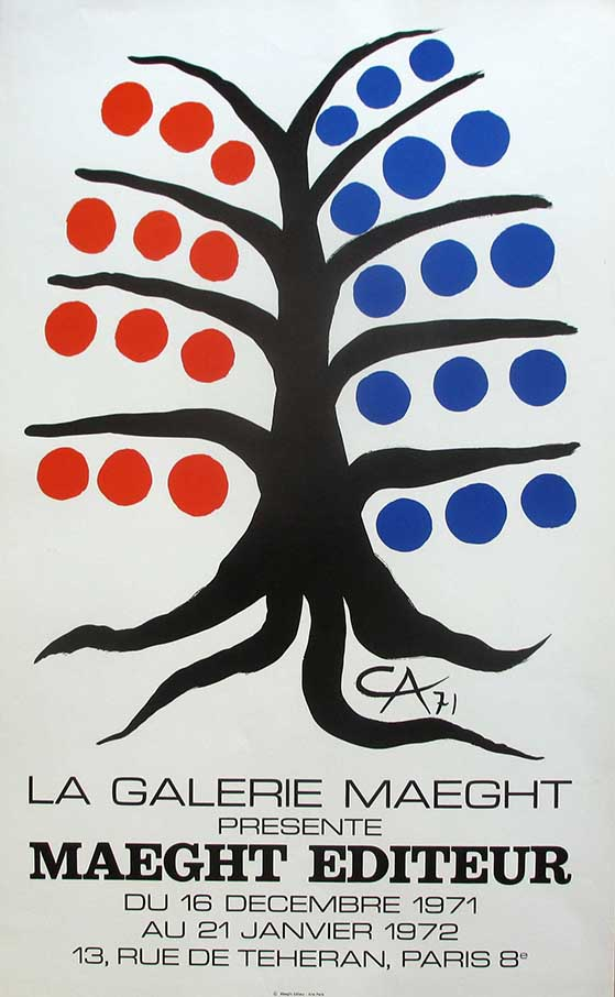 Alexander Calder, Tree with Blue and Red Fruits Lithograph - Maeght 1971