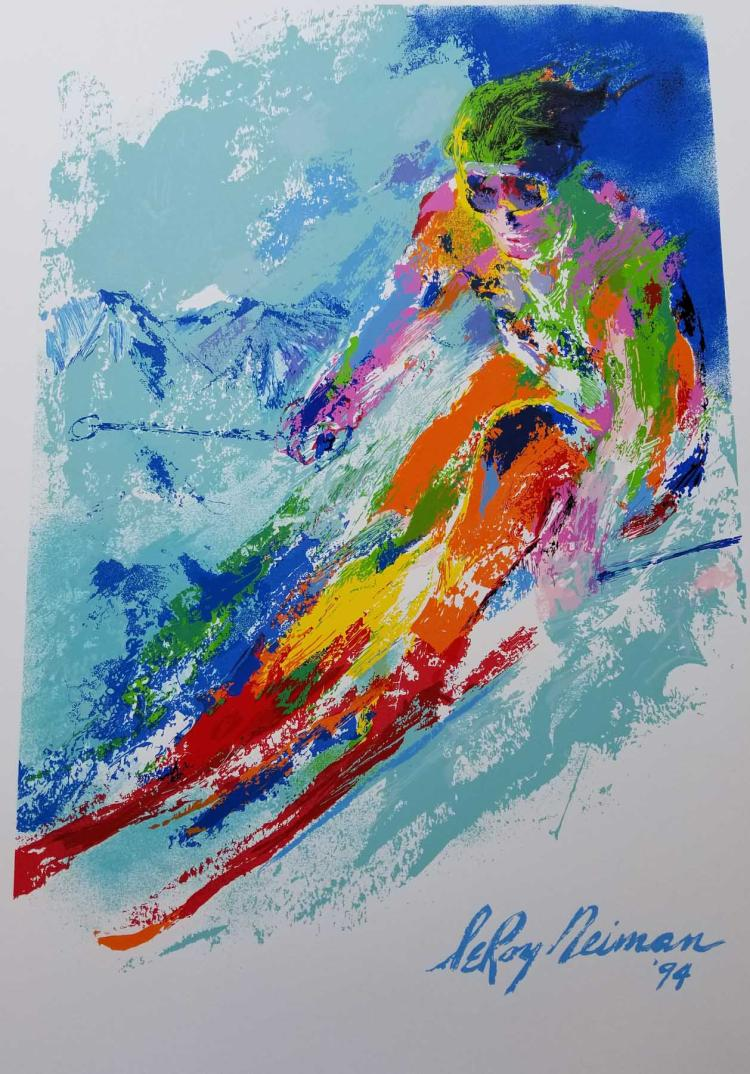 LeRoy Neiman - World Class Skier plate Signed by LeRoy Neiman Serigraph