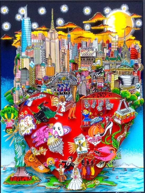 Charles Fazzino, BROADWAY'S BIG APPLE NIGHT!, 3-D HAND SIGNED AND NUMBERED