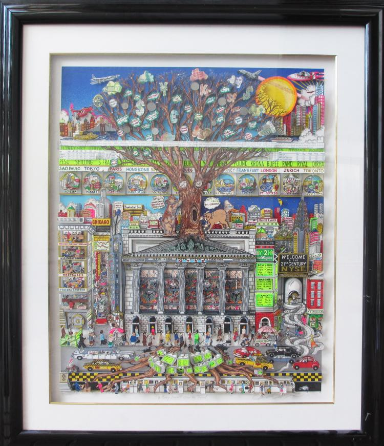 Charles Fazzino, Money Doesn't Grow on Trees Framed with original signed drawing