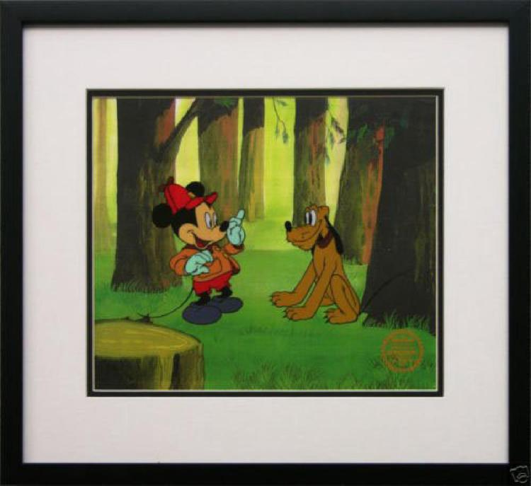 Disney Frame Mickey Mouse Pluto Animation Cel