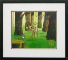 Disney framed animation cel Bambi and Thumper