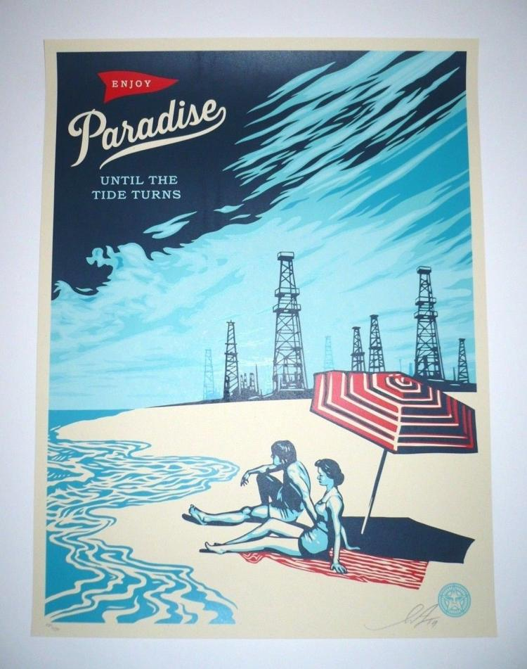 Shepard Fairey screen print Paradise Turns s/n edition of 450