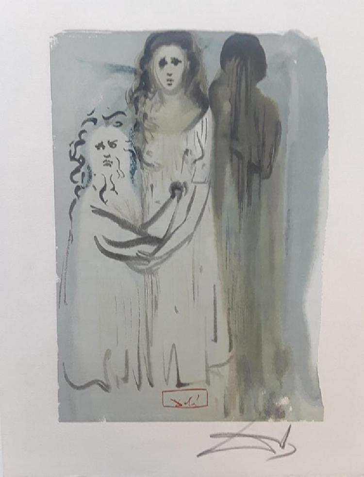 Salvador Dali Hand Signed Woodblock Divine Comedy