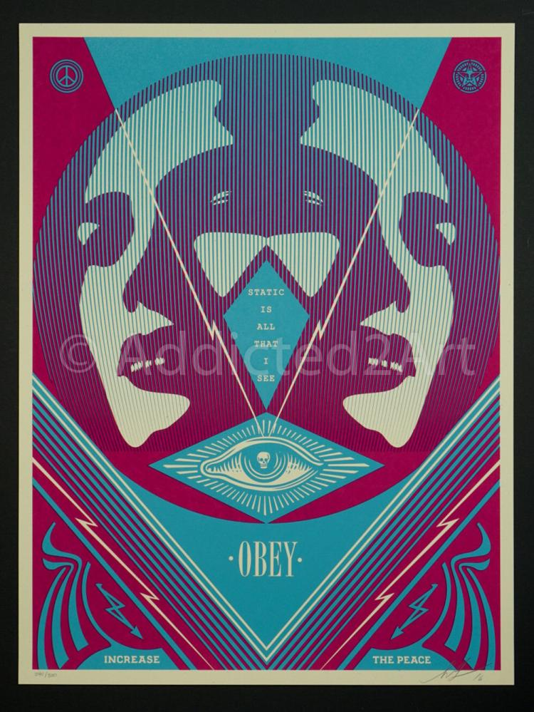 I See Static Screen Print - Shepard Fairey - Obey Ideal Power Welcome Visitors