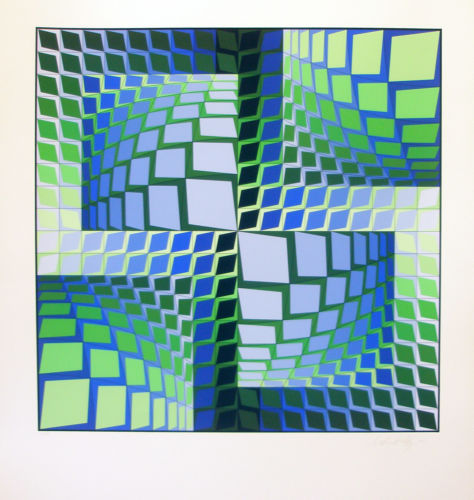 VASARELY s/n serigraph THEZ * Publisher's COA