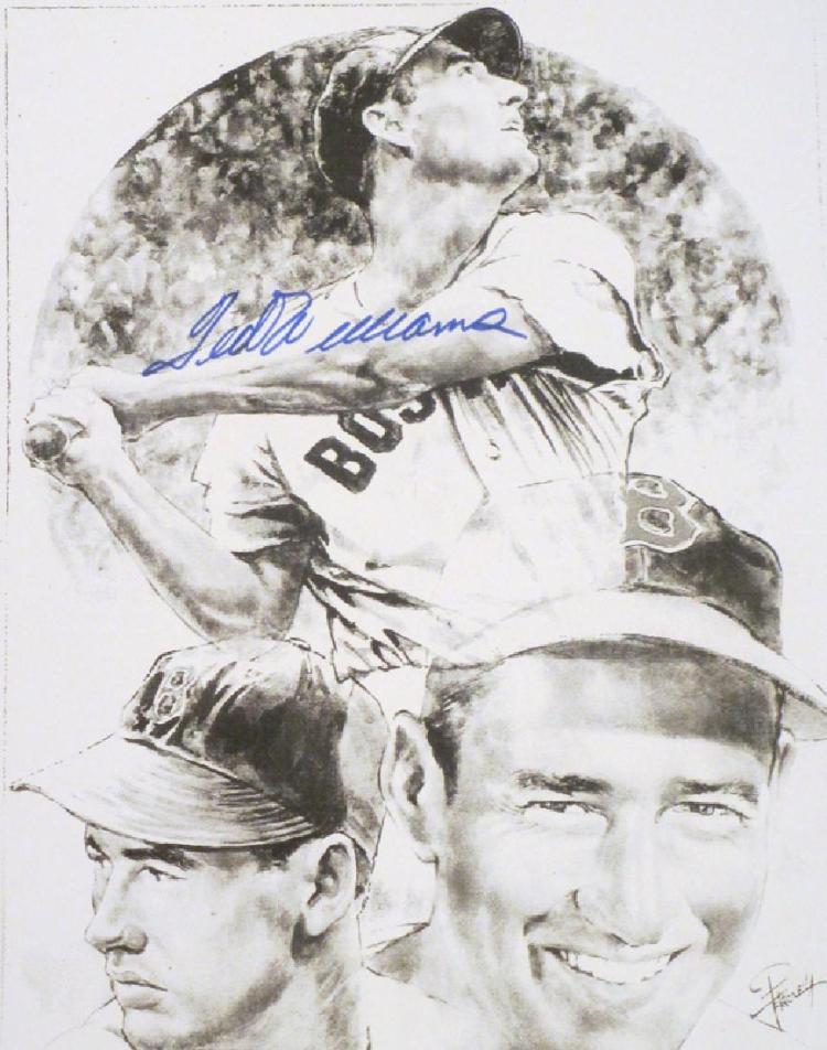 memorabilia Ted Williams autograped 8x10 lithophoto