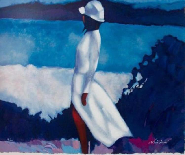 Nicola Simbari White Dress 27x31 H/S# Serigraph canvas