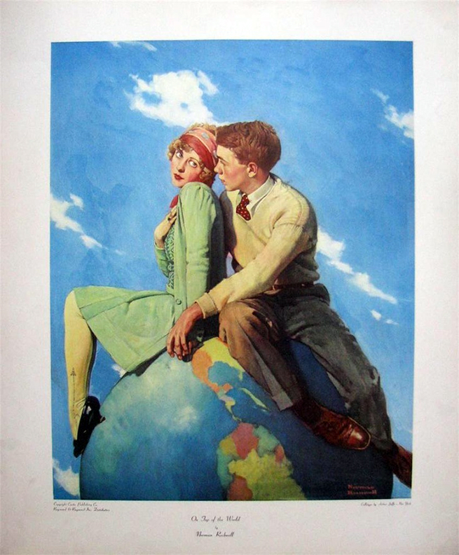 Norman Rockwell Collotype Art Top of The World 1972