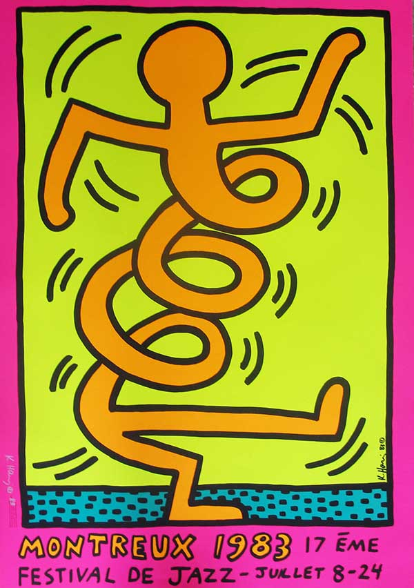 Keith Haring Montreux Jazz Festival-3 1983 silkscreen print, Hand signed