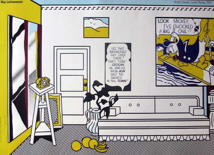 ROY LICHTENSTEIN Artists Studio Look Mickey, Hand signed offset lithograph