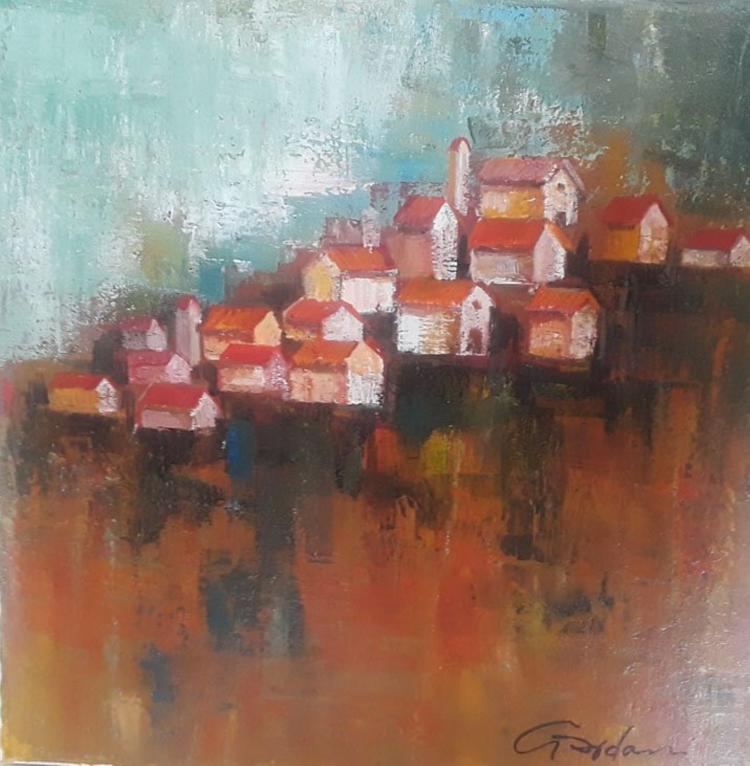 Gardani CLIFFSIDE CITY original oil stretched canvas HS