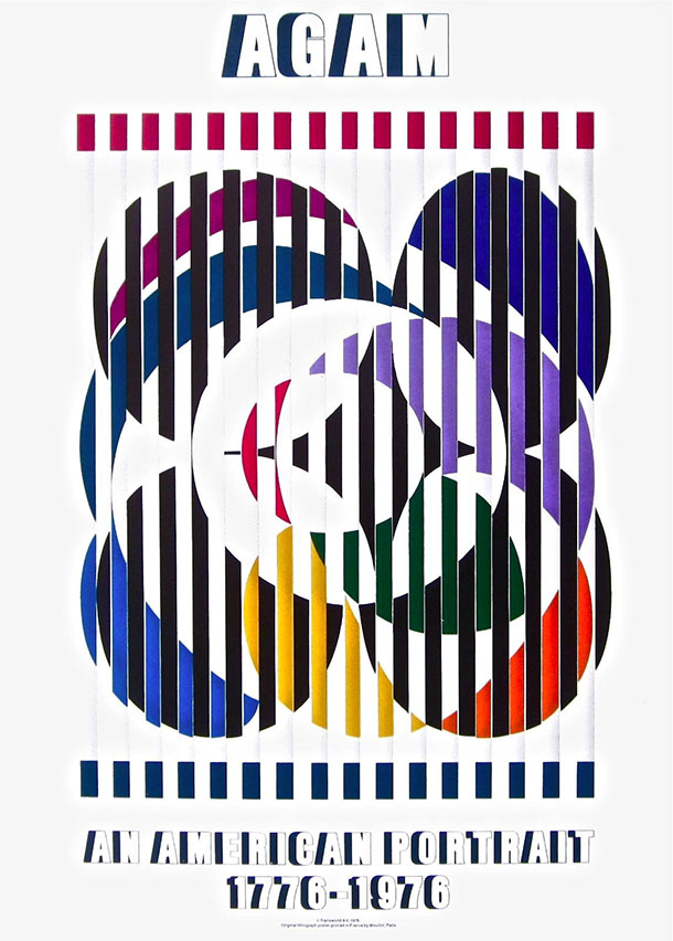Yaacov Agam An American Portrait, 1976 Exhibition Hand Signed