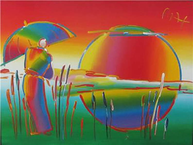 Peter Max Original Acrylic on Canvas Umbrella Man in Reed FRAMED w/ Max COA