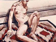 Philip Pearlstein Girl on Orange and Black Mexican Rug,