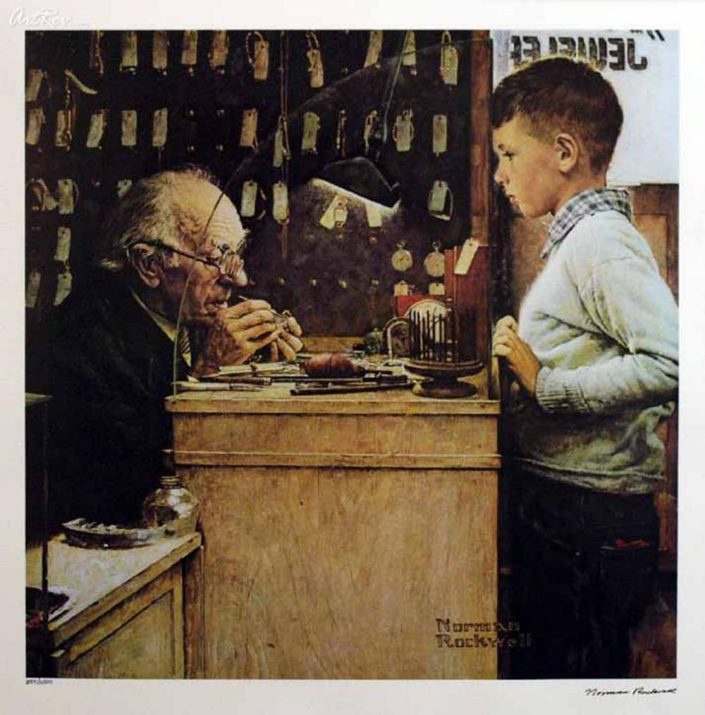 NORMAN ROCKWELL 1978 Signed Limited Edition Lithograph THE WATCHMAKER
