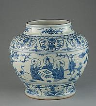 A LARGE OF BLUE AND WHITE JAR