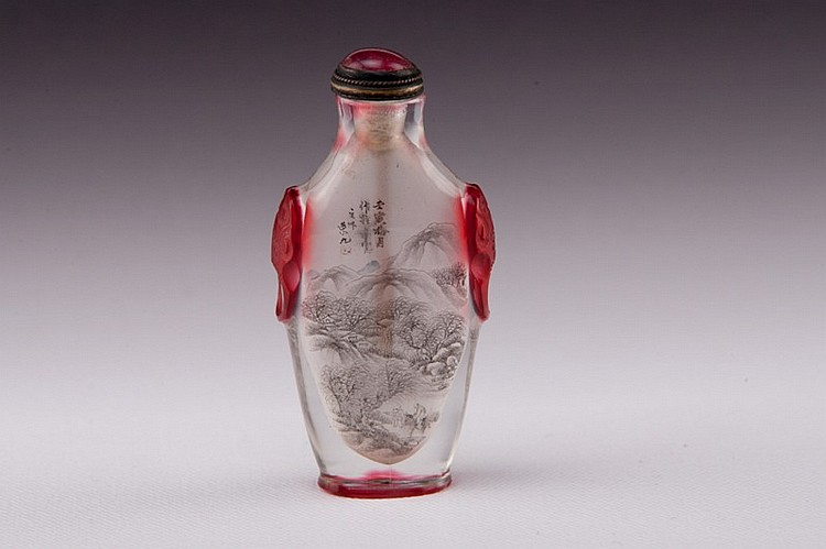 A inside-painted red overlay white glass snuff bottle - EARLY 20TH CENTURY