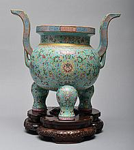A LARGE TURQUOISE FAMILLE-ROSE CENSER AND STAND