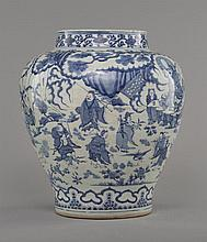 A LARGE BLUE AND WHITE 'FIGURE' JAR