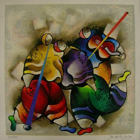 David Schluss litho-serigraph, Celebration Dance
