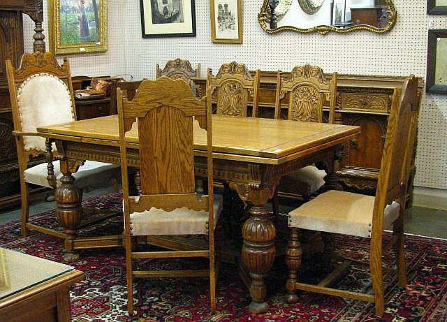 Oak Dining Room, Refractory Table, Chairs, Buffet