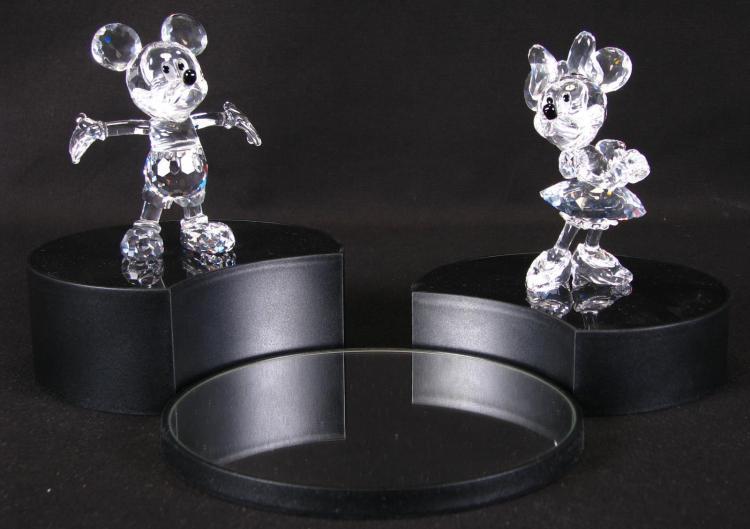 Swarovski Crystal Mickey and Minnie Mouse Figures