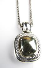 David Yurman 14K, Sterling Large Enhancer Pendant