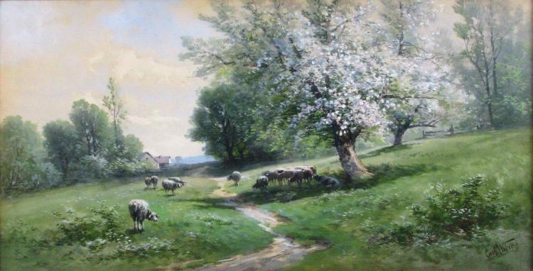 Carl Weber 14x27 WC Pastoral Landscape