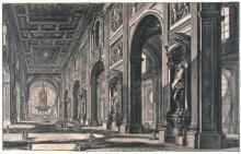 18th Century Italian Etching, Basilica Interior